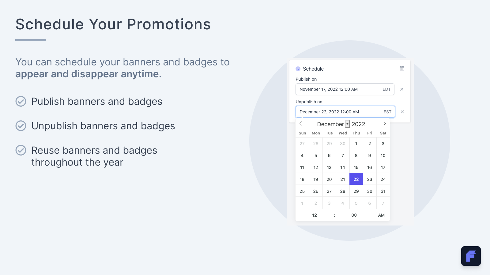 Schedule and reuse product badge and banner promotions