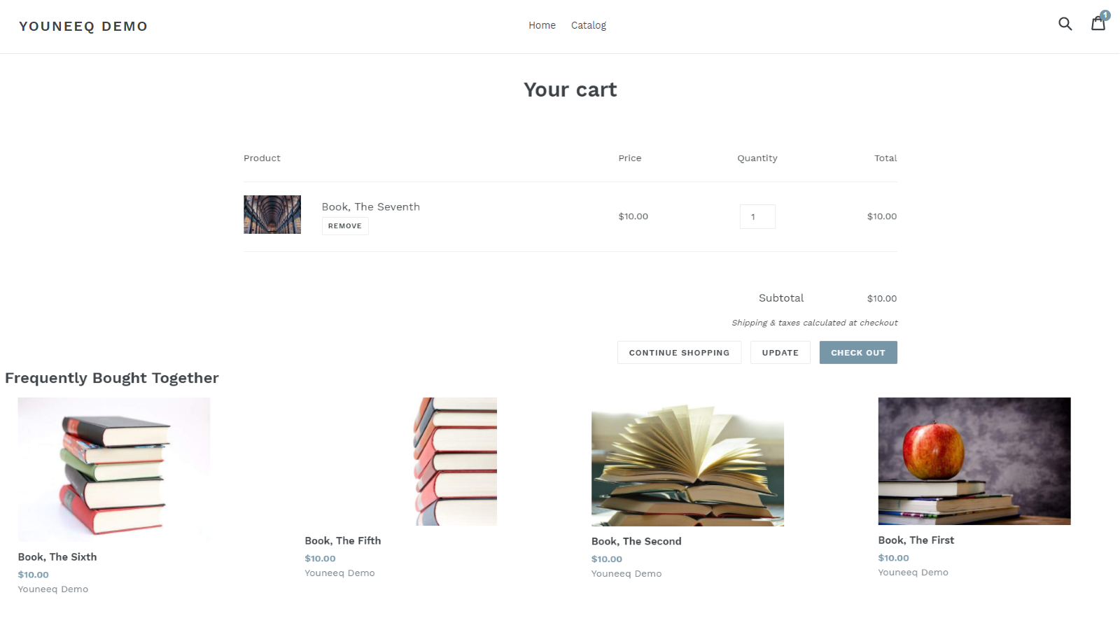 Screenshot of the recommendations panel on a demo cart page.