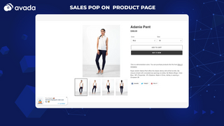 Sales pop on product page