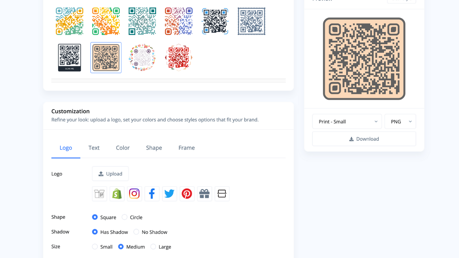 Customize every part of your QR Code to fit your brand