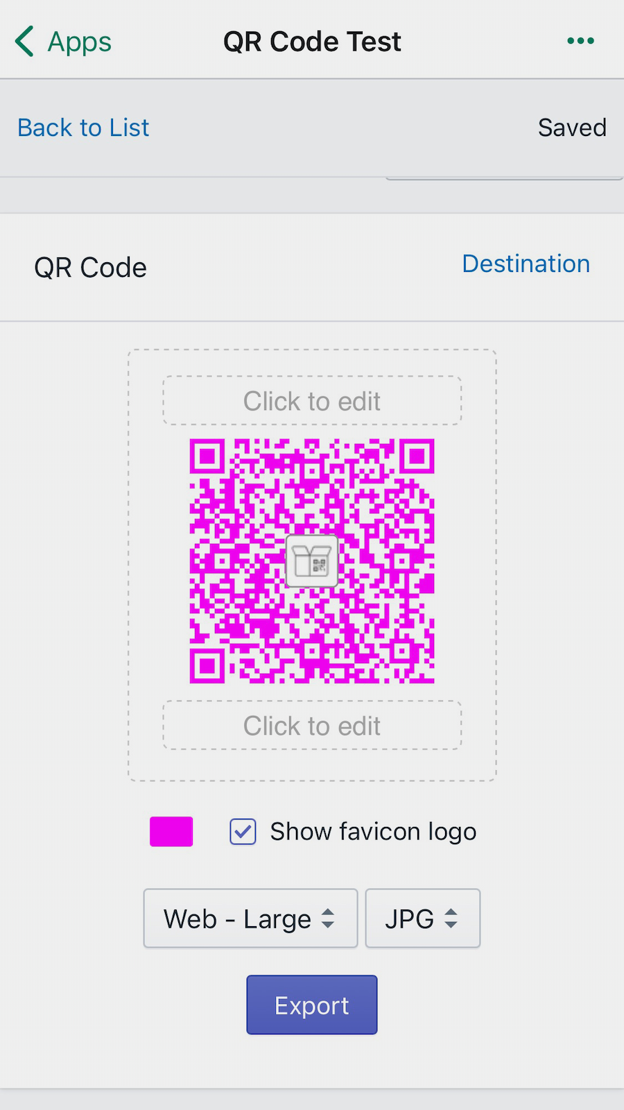 Create dynamic QR codes with your color and icon. Link anywhere.