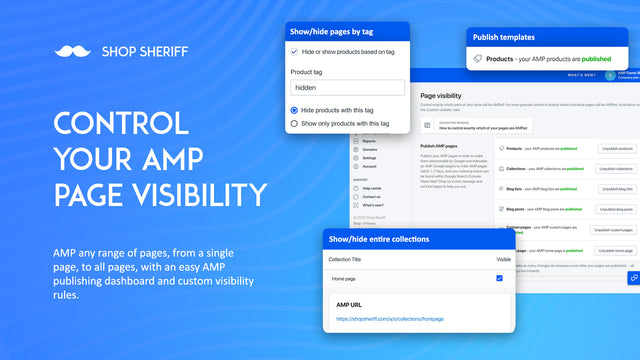 AMP Control page visibility, hide/show products, collections etc