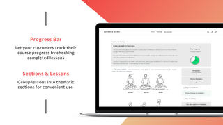 Courses –lessons are grouped in sections + course progress