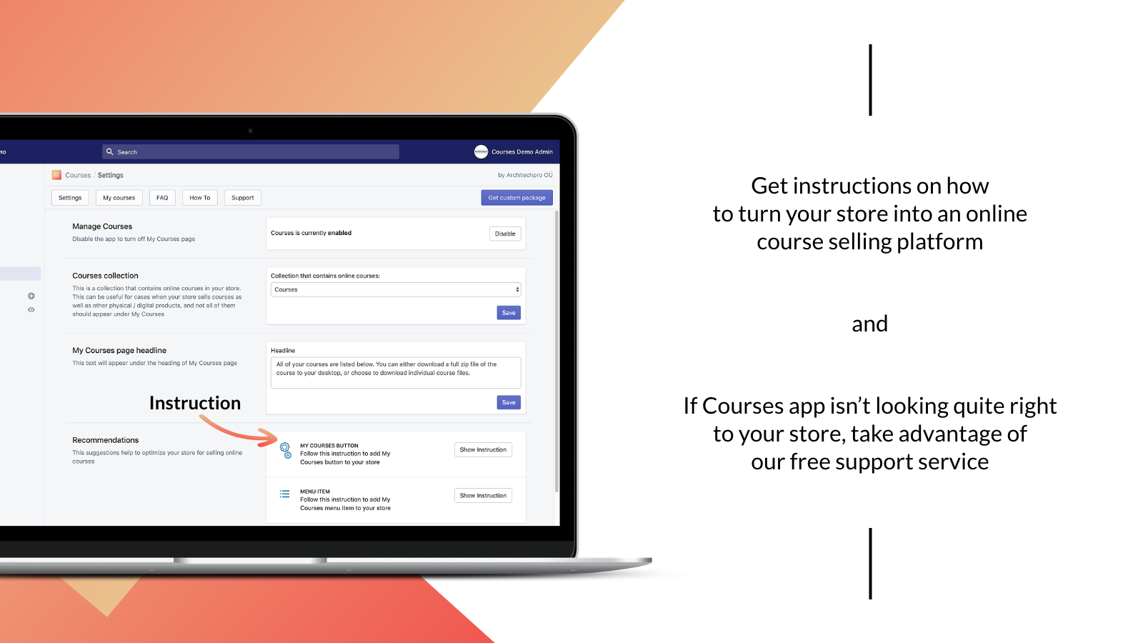 Courses for Shopify –admin panel, installation instructions
