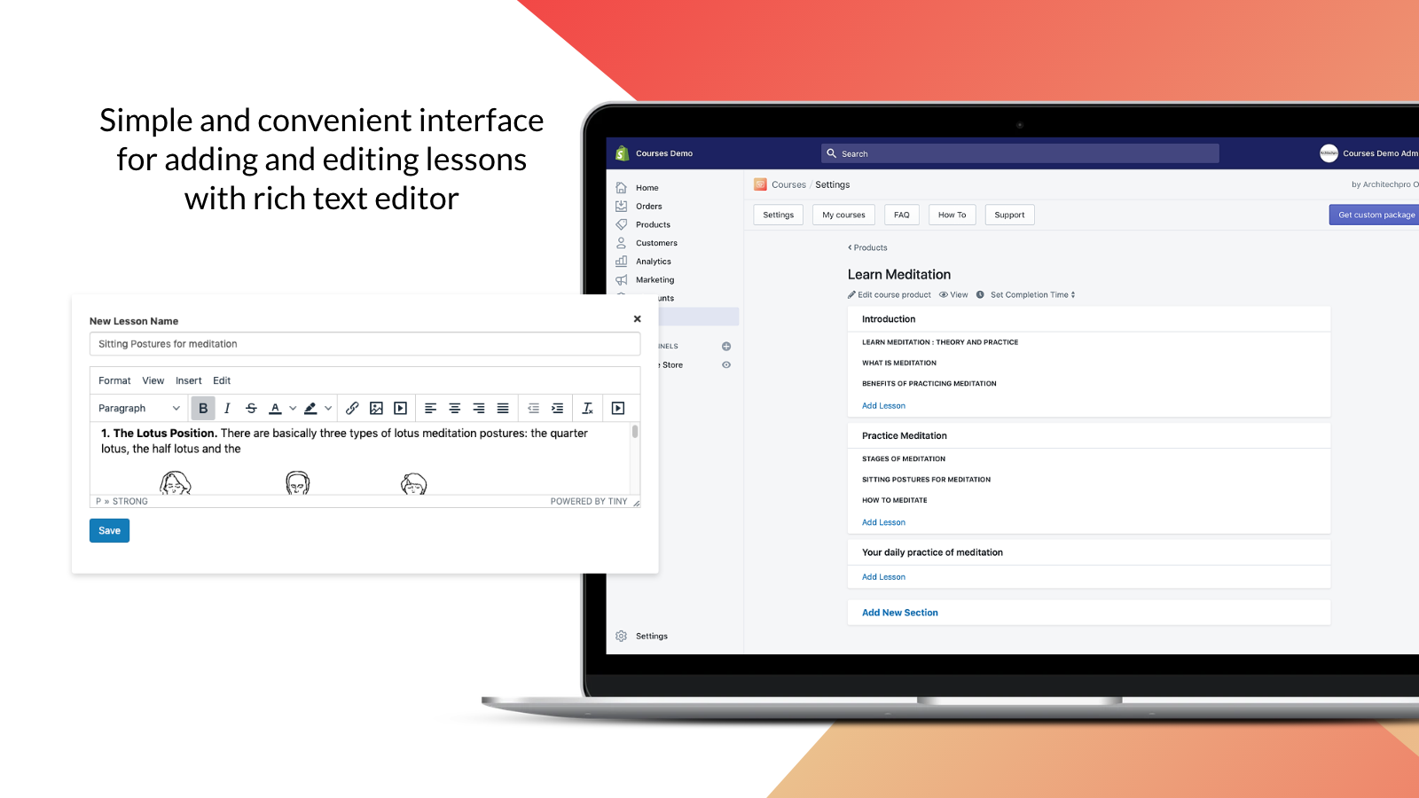 Shopify Courses –edit lessons and group them under sections