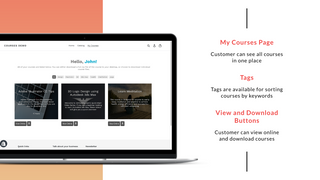 Courses –customers can view courses online or download files