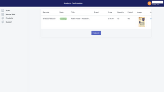 The pre-submit review screen to check the products.