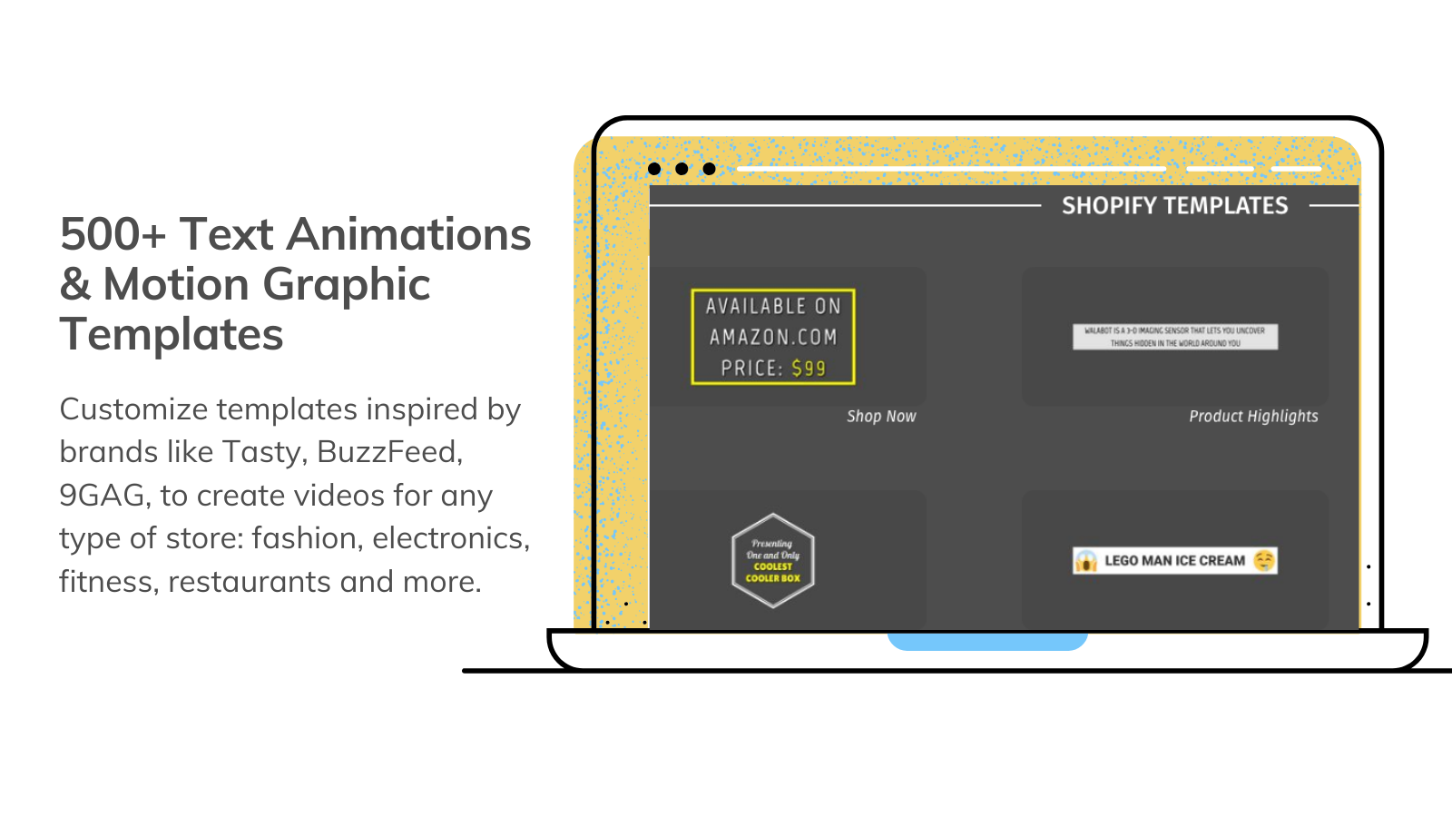 500+ motion graphic templates to create product videos and ads