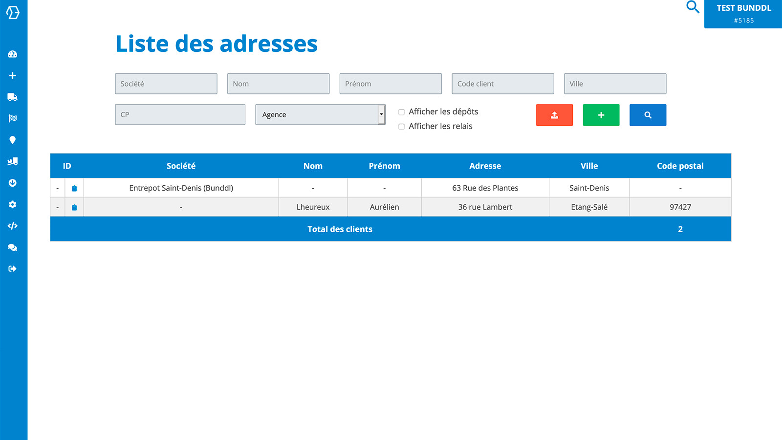 Addresses are collected by the app on your Bunddl account
