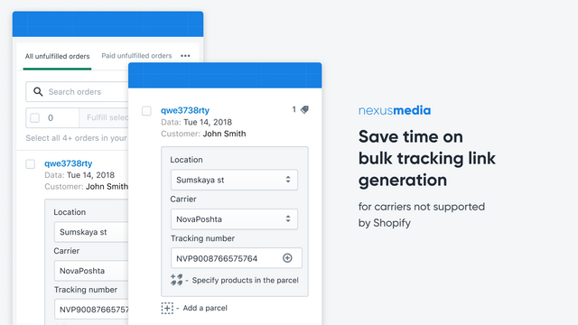 Bulk tracking link generation for carriers not supported
