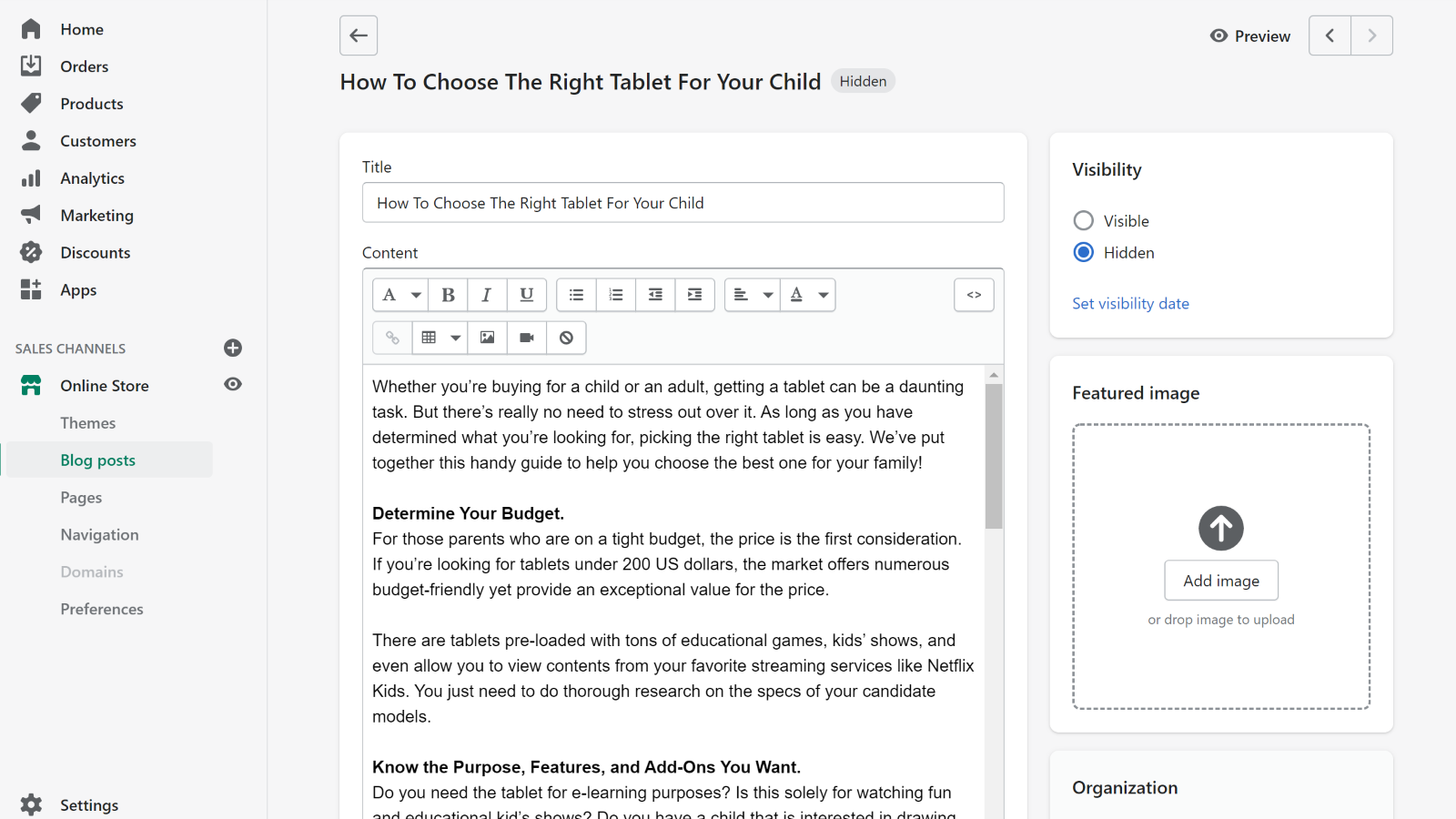 Edit the article as a blog draft before publishing