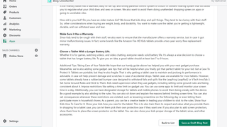 Save your article as a draft in your blog