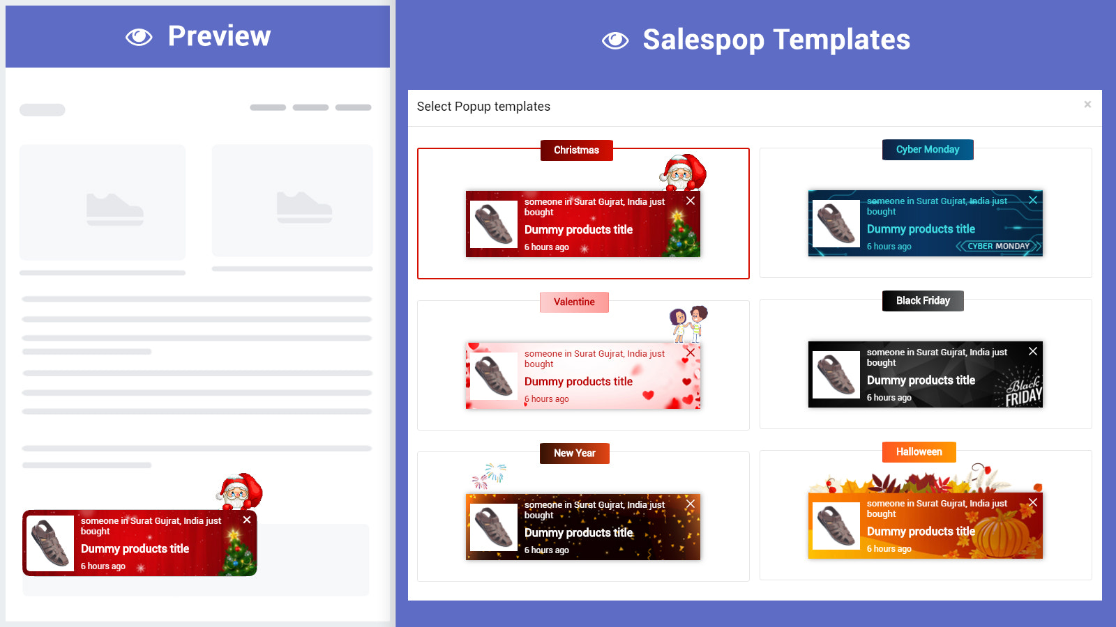 Salespop built-in templates. Ready to use