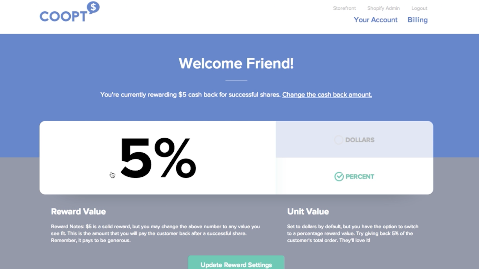 coopt referral offer settings