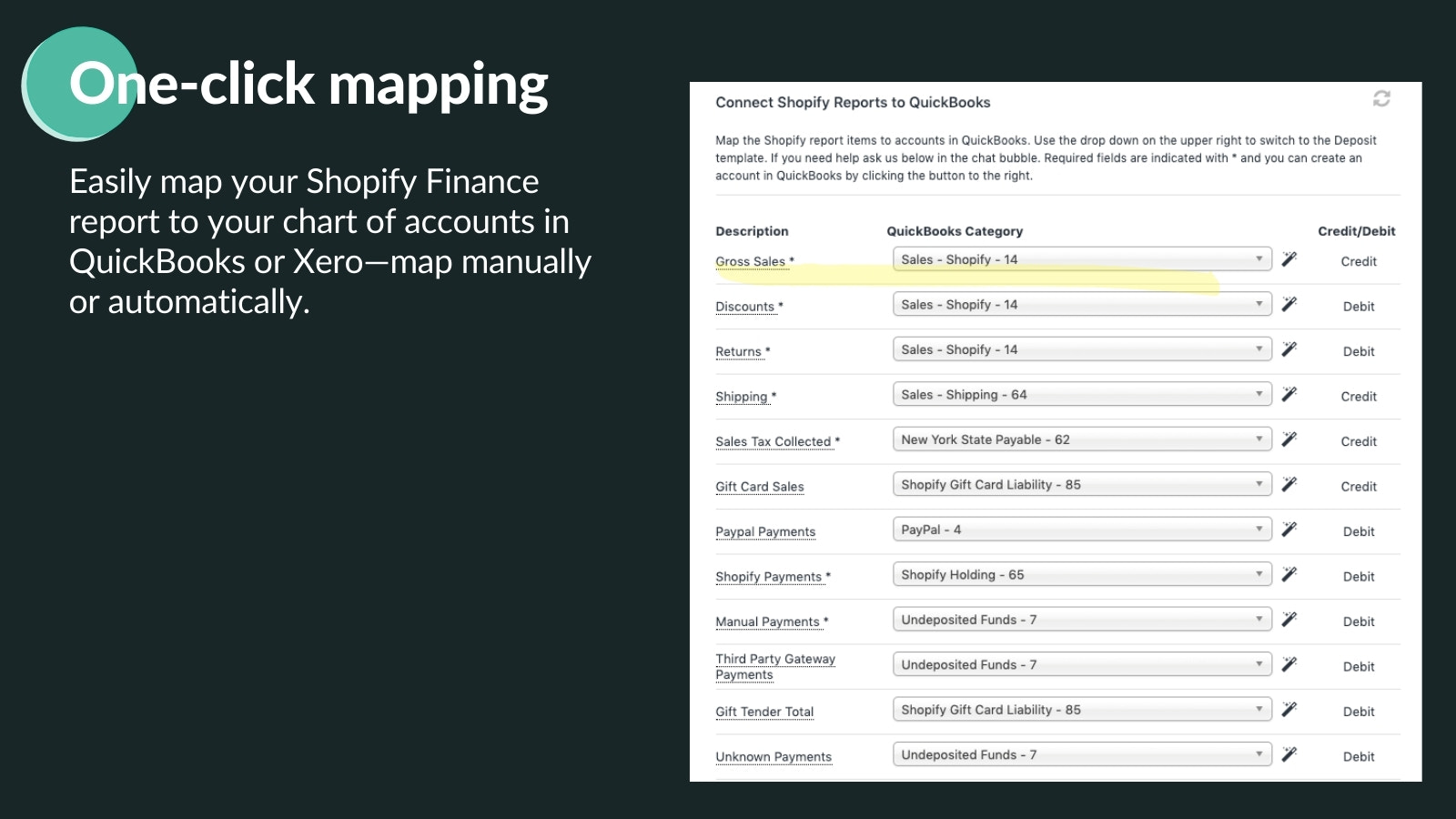 Map to your chart of accounts right inside Shopify