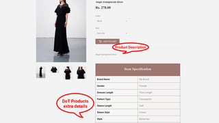 Display item attributes on product page