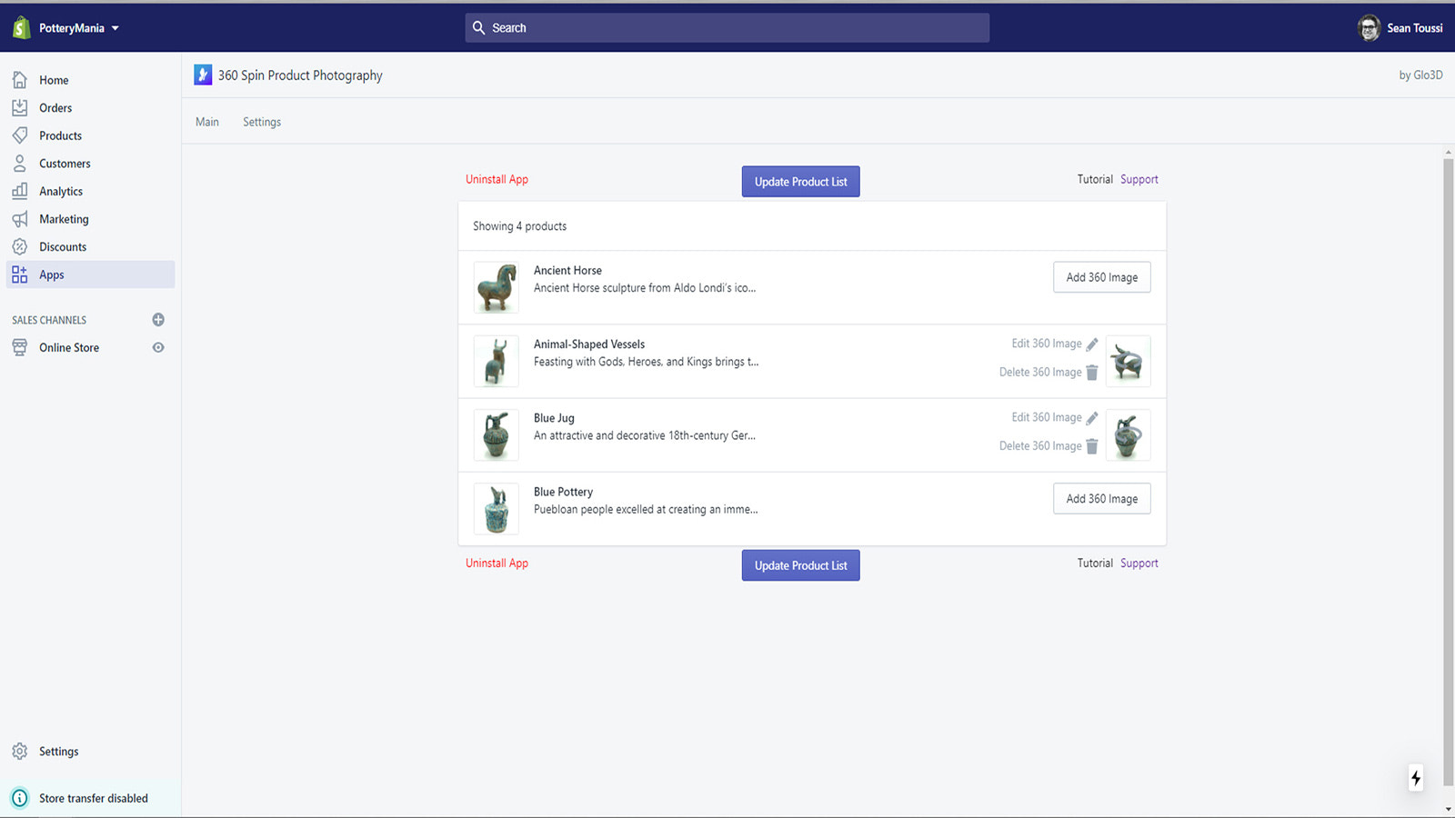 Main screen of the shopify app for 360 product photography