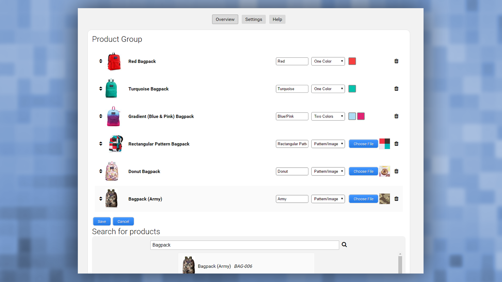 Product Group admin page