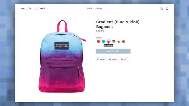 Final result in product page