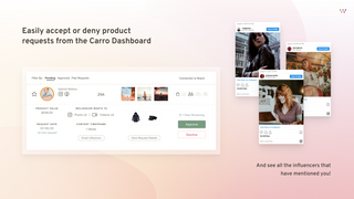 Easily accept or deny product requests from the Carro Dashboard