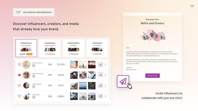 Discover influencers, creators, and media that love your brand