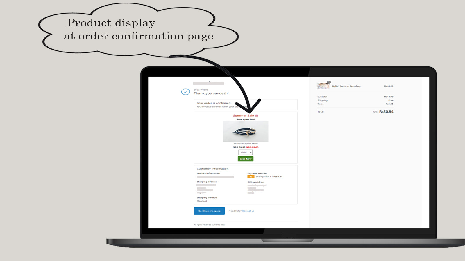 Upsell display at order confirmation page