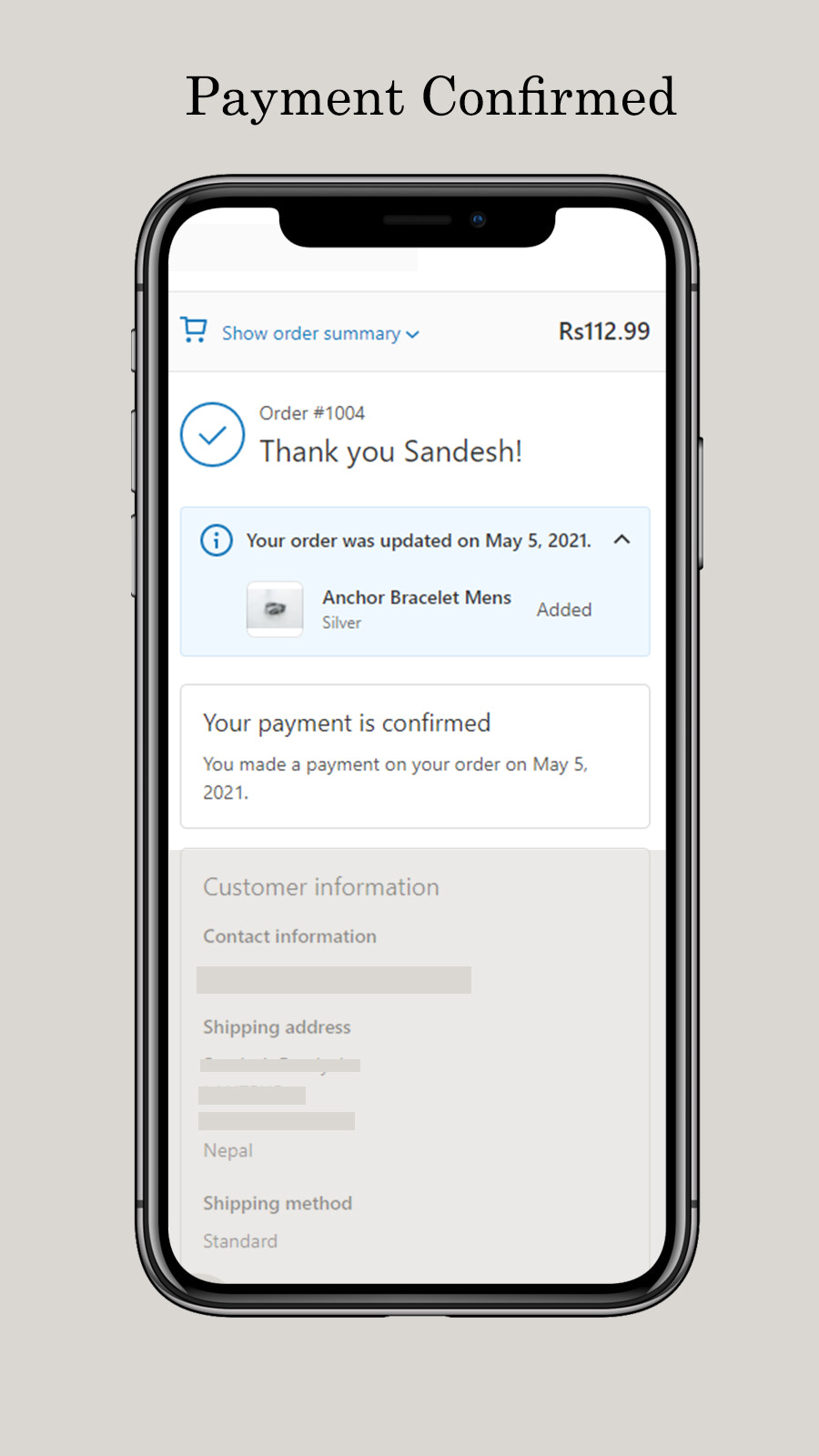 Payment confirmed and order updated