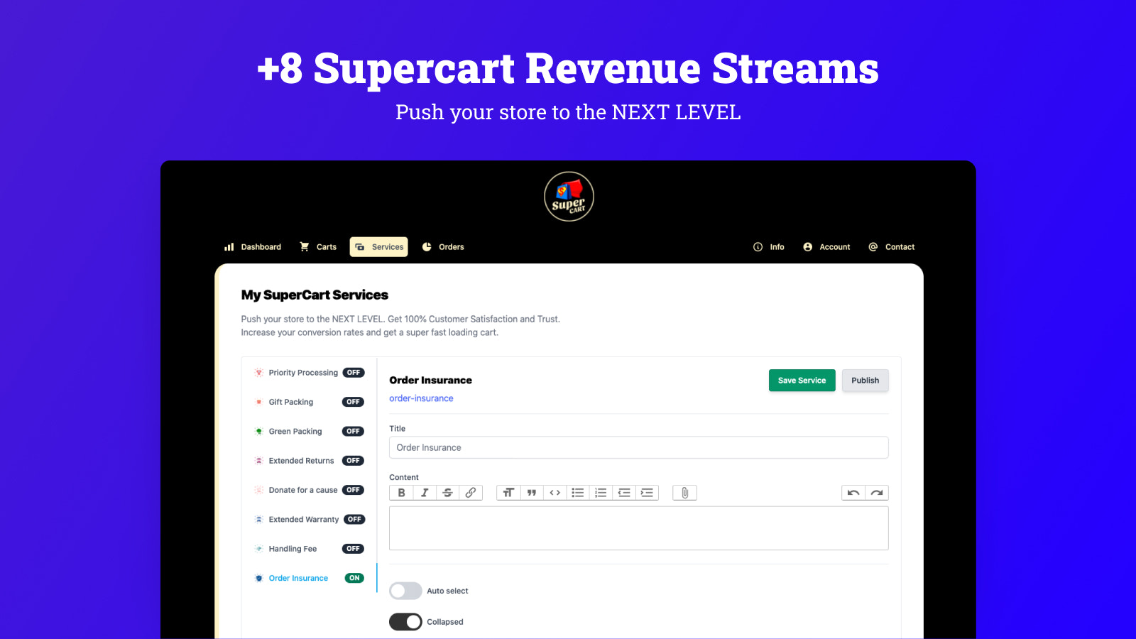 +8 Supercart Revenue Streams and Cart Services