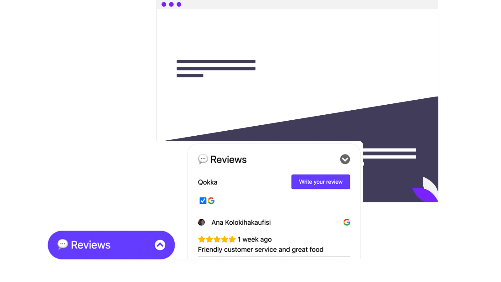 Review widget for collecting and display good reviews
