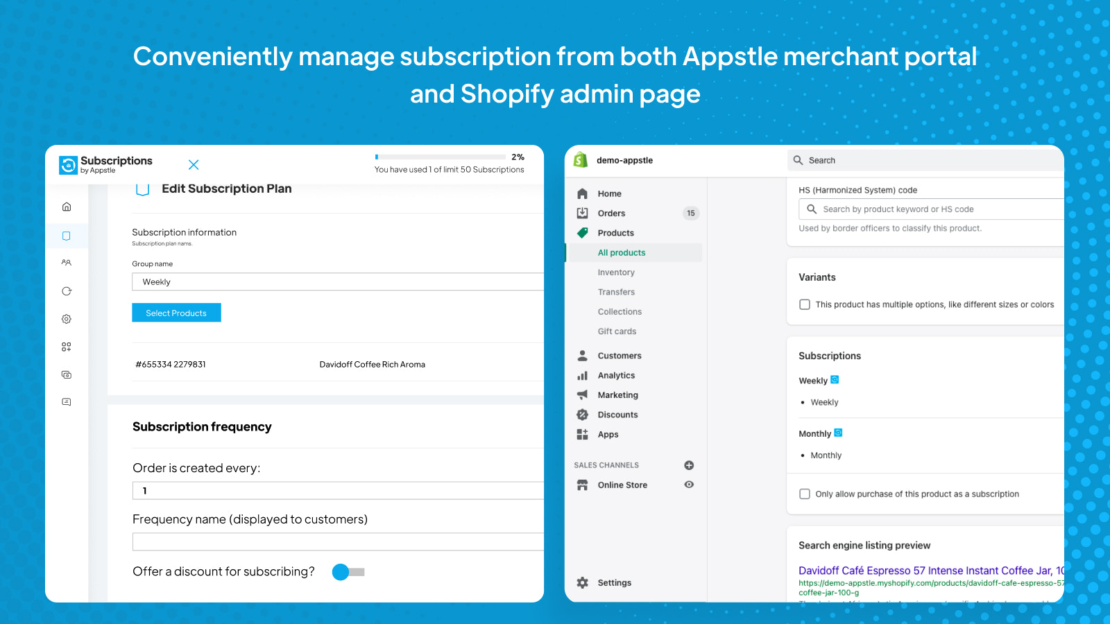 Easy and flexible subscription creation and management