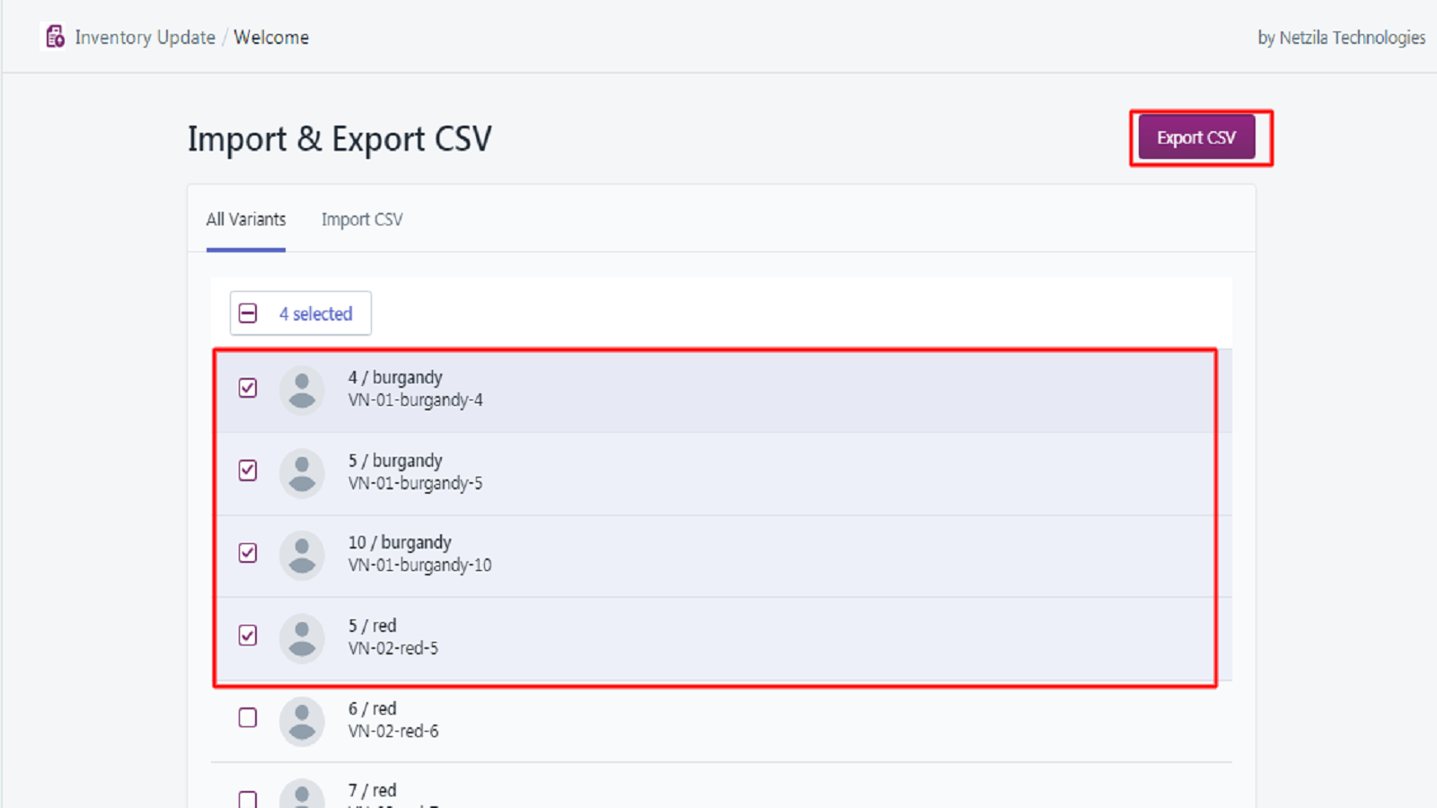Select variants and export CSV.