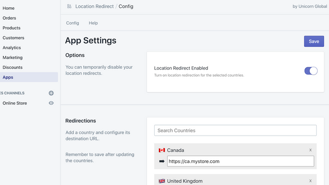 Easy to configure country redirects