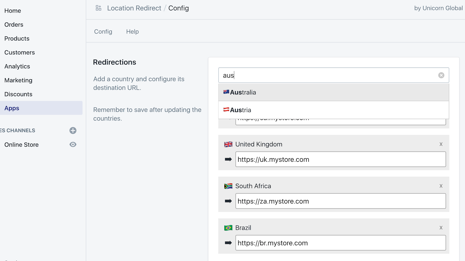 Configure multiple country redirects