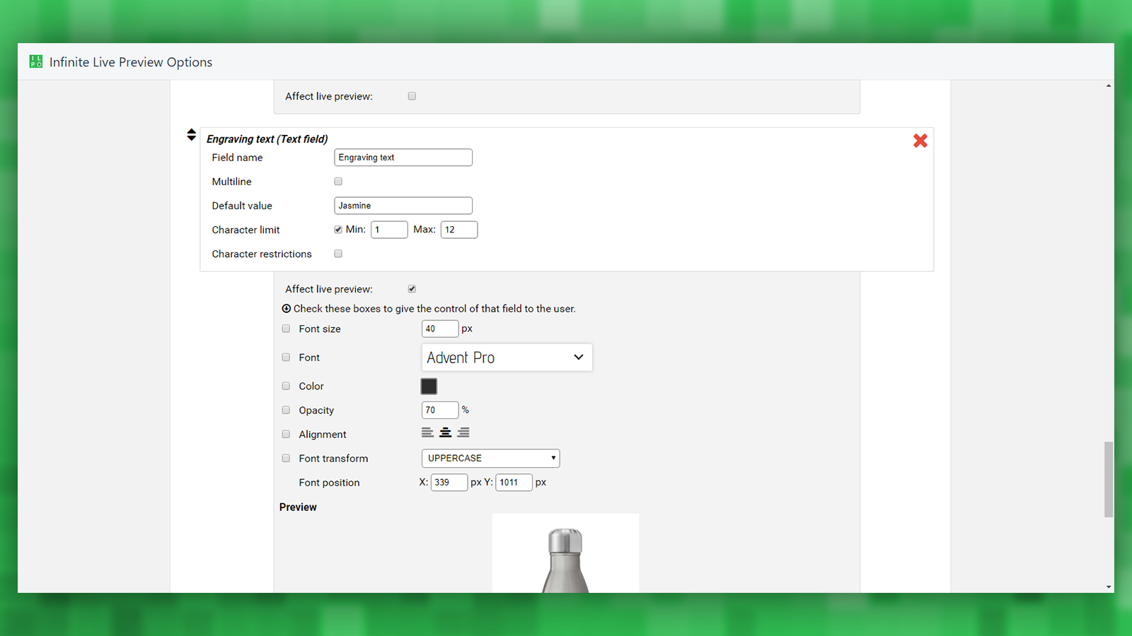 Admin: Text input with live preview feature