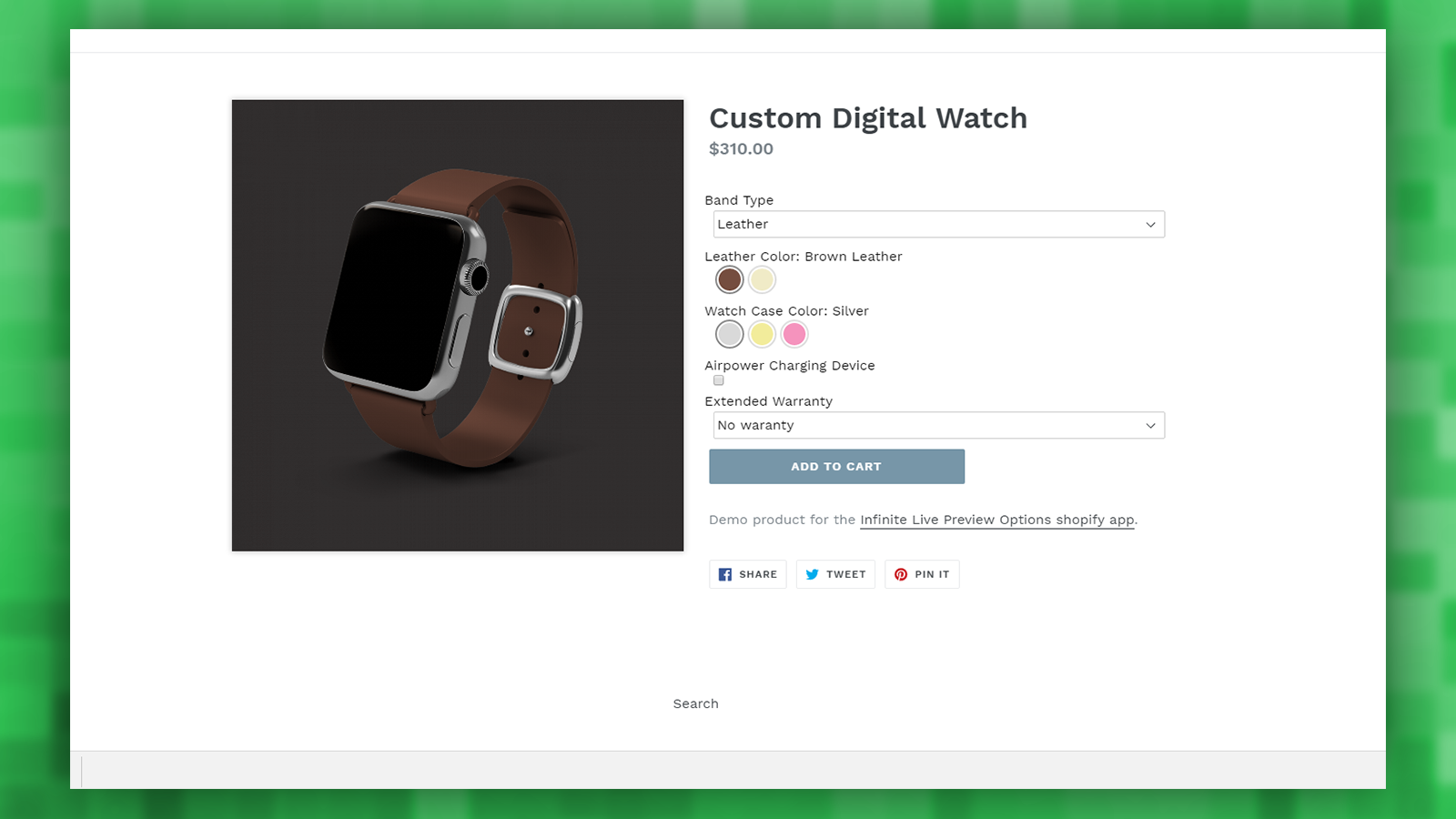 Store: Watch demo product