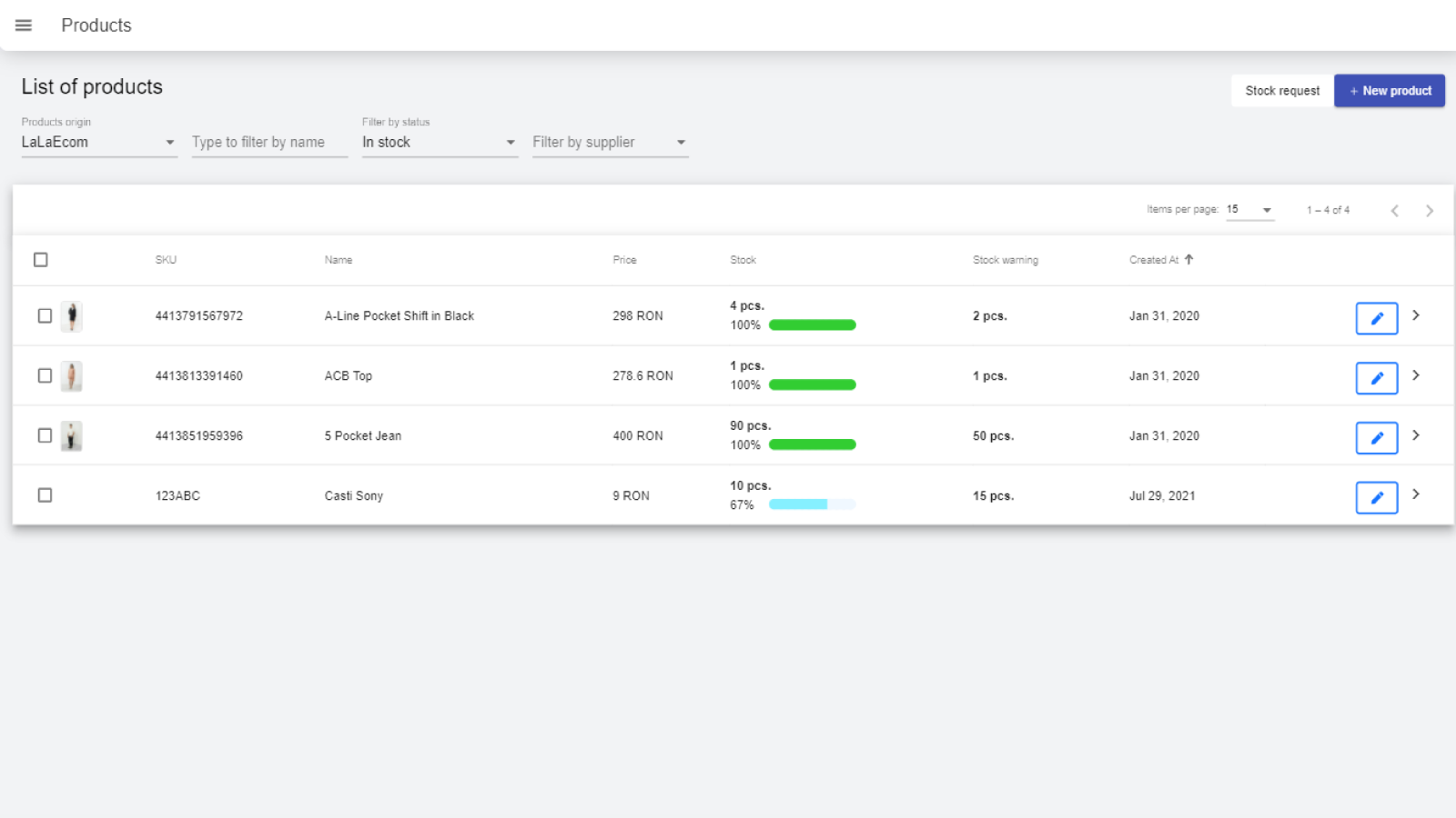 Your products with stock alerts to call your attention quickly