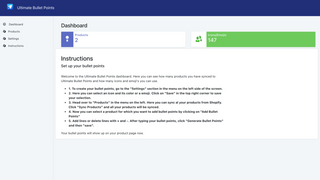 App Dashboard with set up instructions