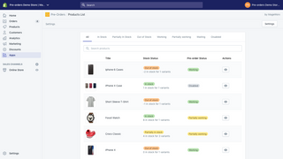 Products grid with stock & pre-order statuses
