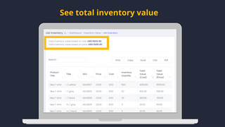 total inventory value