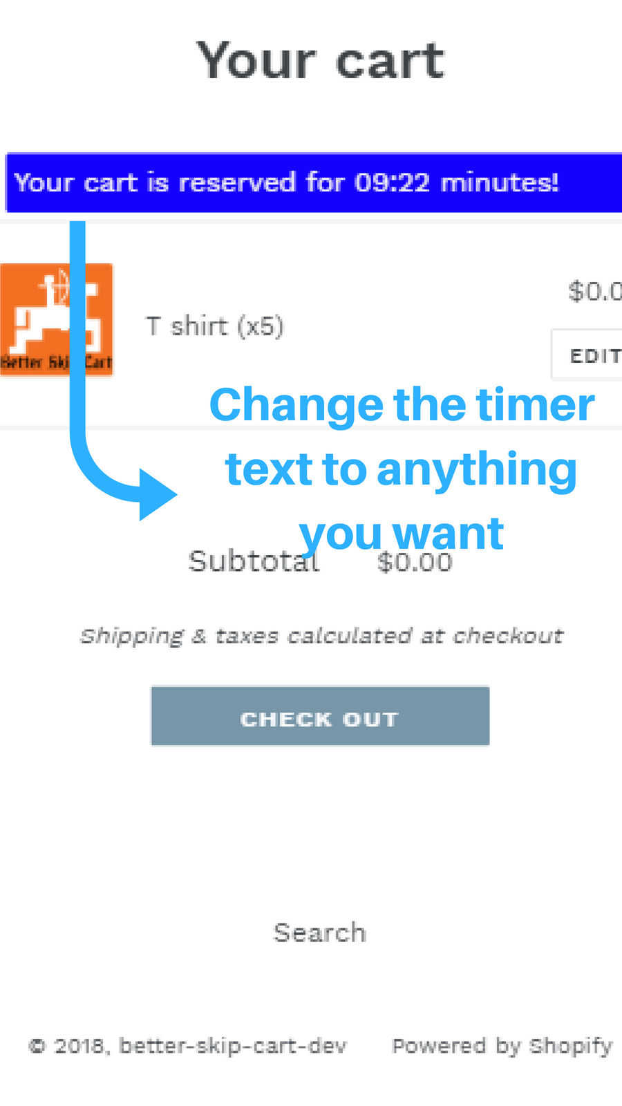 Change the timer text to anything you want