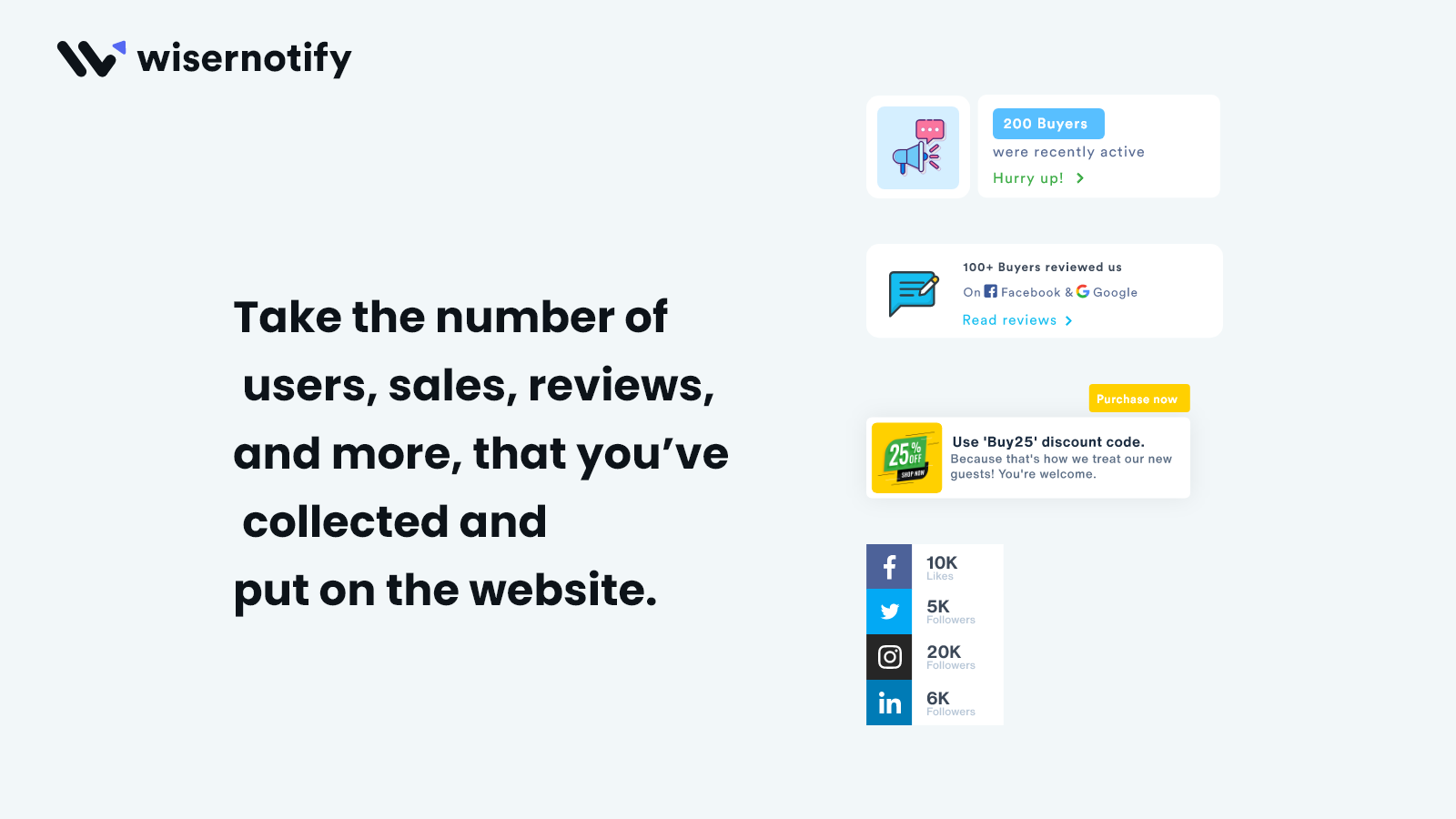 Show your popularity on store & social media networks