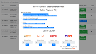 Choose from available payment way, and available couriers