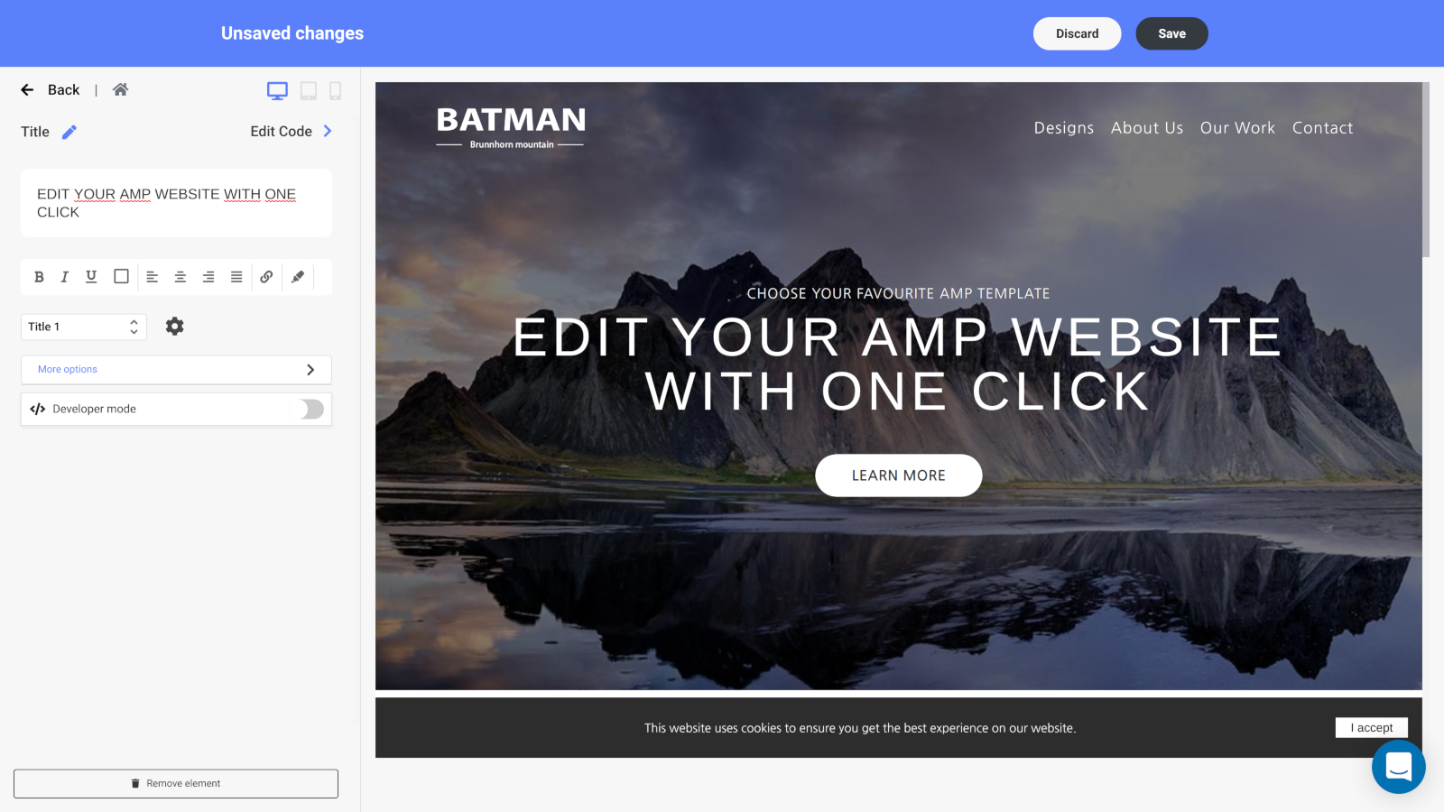 Edit your google amp pages easily