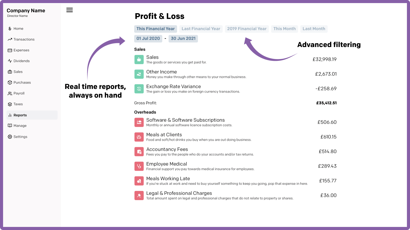Advanced reporting: real time profit & loss and balance sheet