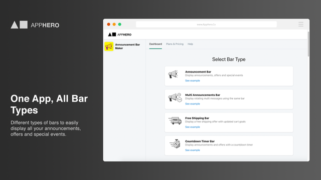 One App, All Bar Types