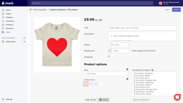 Inkthreadable fulfilment app importing new product