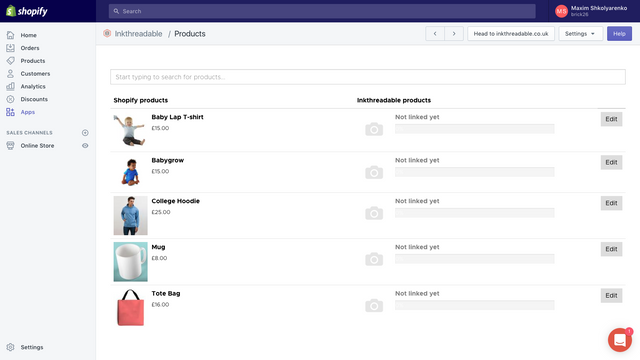 Inkthreadable fulfilment app managing products page