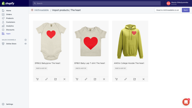 Inkthreadable fulfilment app products listed by design
