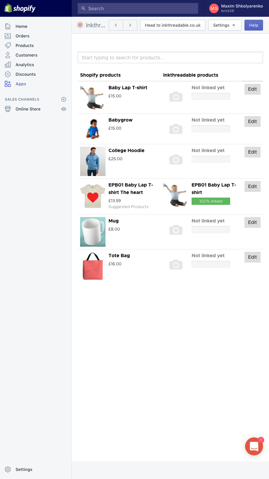 Inkthreadable mobile fulfilment app product preferences