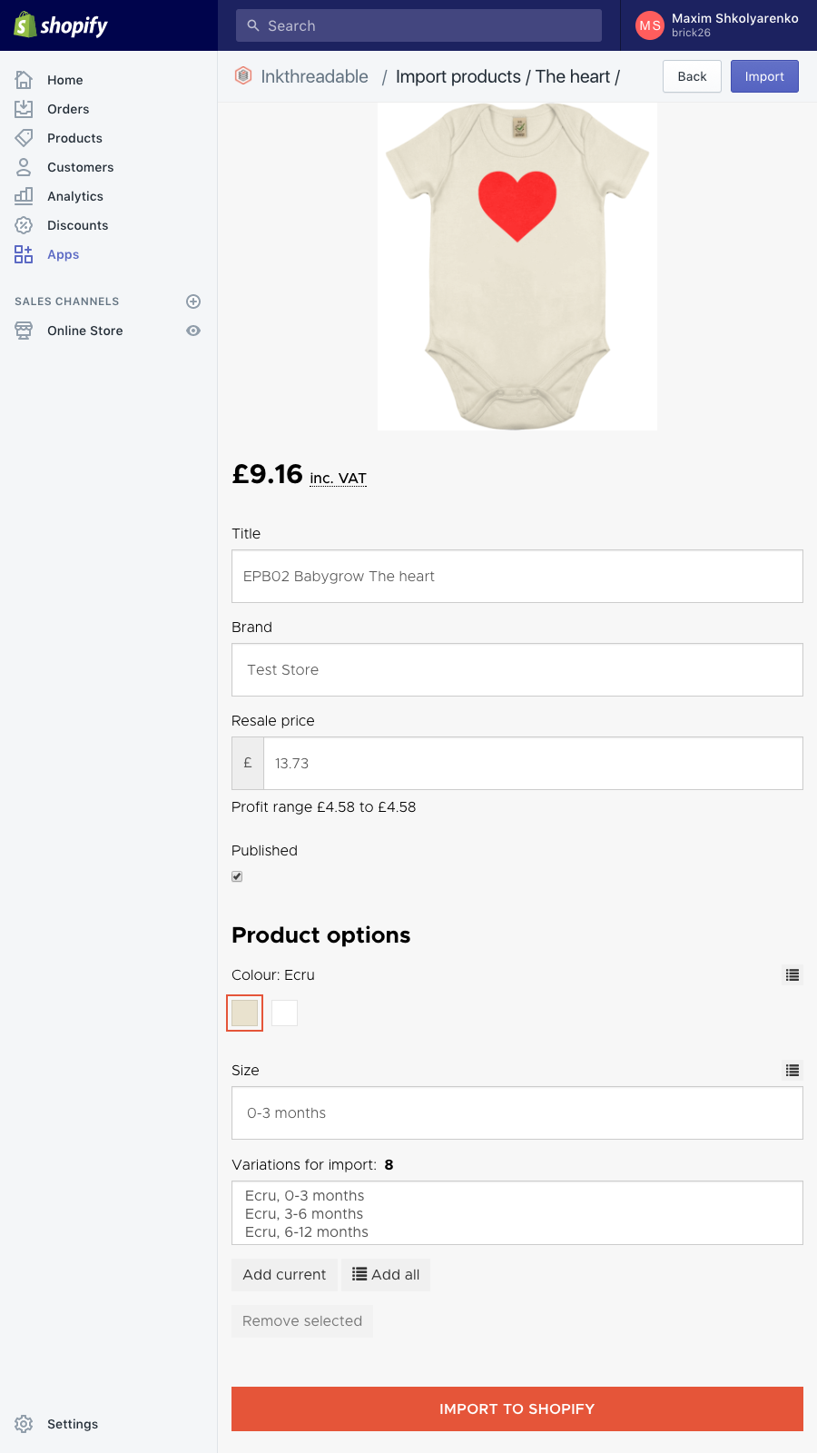 Inkthreadable mobile fulfilment app importing new product